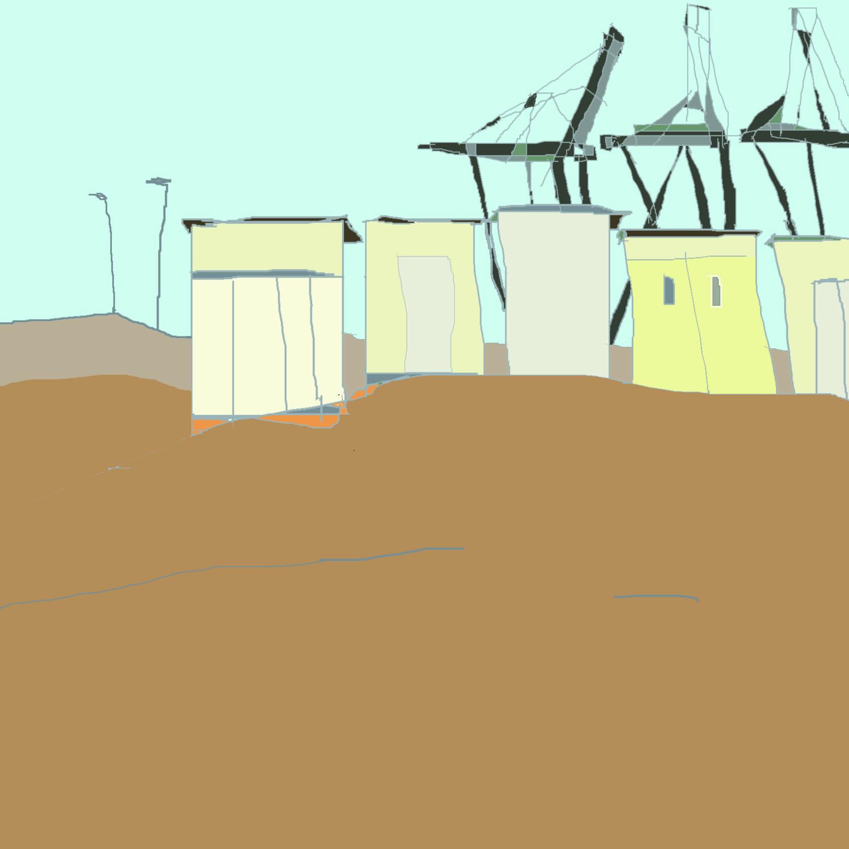 cabanes vertes et jaunes de la mer du nord, belgique